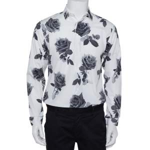 Dior Homme White Rose Printed Cotton Button Front Shirt M