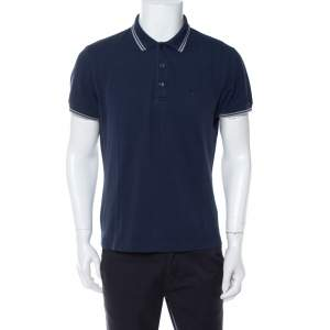 Dior Navy blue Bee Embroidered Cotton Pique Polo T-Shirt L