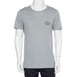 Dior Homme Grey Cotton Logo T-Shirt L