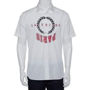 قميص ديور أكمام قصيرة قطن طباعة شعار أسود وأحمر أبيض مقاس كبير