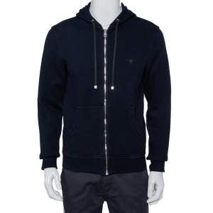Dior Homme Navy Blue Knit Zip Front Hooded Jacket L