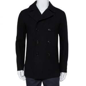 Dior Homme Black Wool Double Breasted Short Coat M