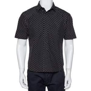 Dior Homme Black Polka Dot Crinkled Cotton Short Sleeve Shirt M