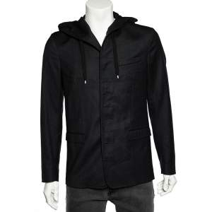Dior Homme Black Wool Button Front Hooded Jacket M