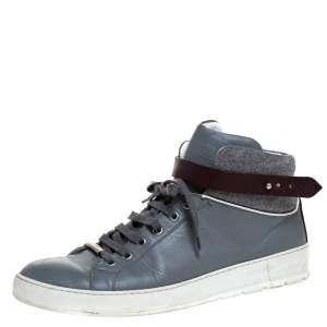 Dior Homme Grey Leather And Tweed Fabric High Top Sneakers Size 43