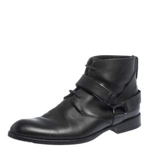 Dior Black Leather Buckle Detail Ankle Boots Size 40.5