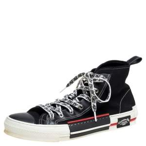 Dior Black/White Canvas Atelier High Top Sneakers Size 45