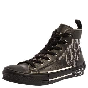 Dior Black Mesh And PVC Oblique B-23 High Top Sneakers Size 42.5