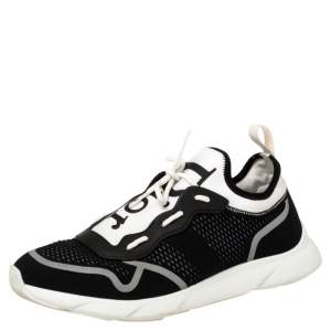 Dior Black/White Technical Knit Fabric B21 Neo Low Top Sneakers Size 43