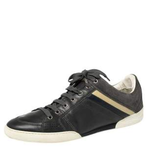 Dior Homme Grey Leather and Suede Low Top Sneakers Size 43