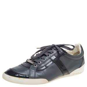 Dior Grey Patent Leather and Leather Low Top Sneaker Size 41
