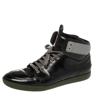 Dior Black Leather High Top Sneakers Size 44