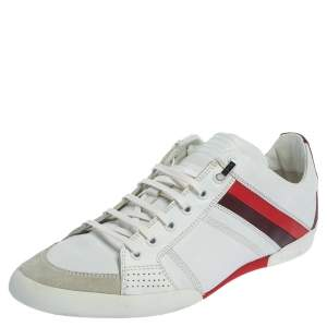 Dior White Leather And Suede Low Top Sneakers Size 41.5