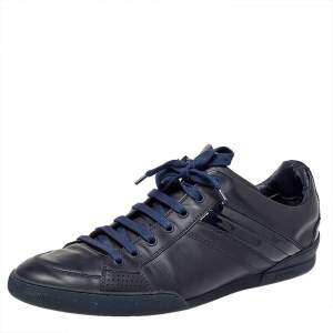 Dior Navy Blue Leather And Patent Leather Lace Up Sneaker Size 43