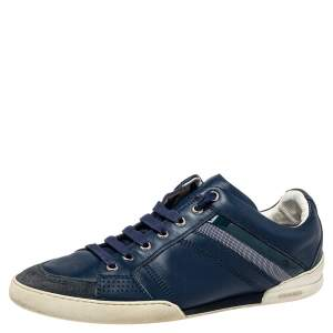 Dior Blue Leather And Suede Low Top Sneakers Size 39.5