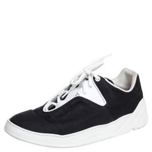 حذاء رياضي ديور هوم كانفاس أبيض/أسود وجلد مقاس 40