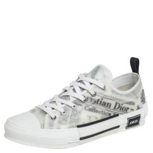 Dior White Vinyl And Mesh Lace Up B23 Sneakers Size 43
