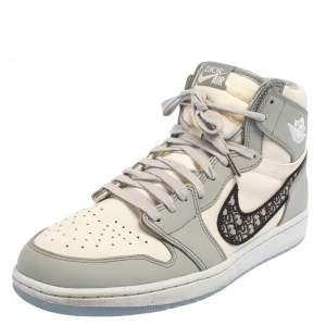 Jordan x Dior Grey/White Leather Air Jordan 1 Retro High Top Sneakers Size 46