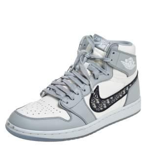 Jordan x Dior Grey/White Leather Air Jordan 1 Retro High Top Sneakers Size 43