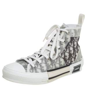 Dior White/Grey Oblique Mesh B23 High Top Sneakers Size 40