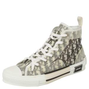 Dior White/Grey Oblique Mesh B23 High Top Sneakers Size 43