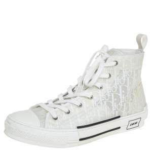 Dior White Oblique Mesh And PVC B23 High Top Sneakers Size 45