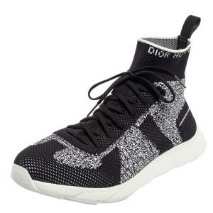 Dior Black/White Perforated Knit Fabric B21 Sock High Top Sneakers Size 42