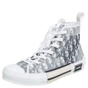 Dior White/Grey Oblique Mesh B23 High Top Sneakers Size 41