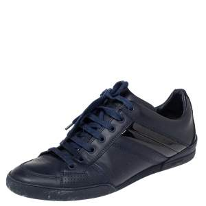 Dior Navy Blue Leather And Patent  Lace Up Sneakers Size 40.5