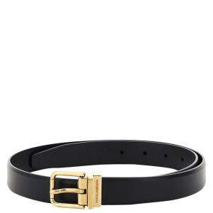 Dolce & Gabbana Black Leather Belt Size CM 90