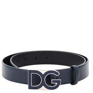 Dolce & Gabbana Blue Leather DG Buckle Belt Size CM 95