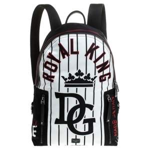 Dolce & Gabbana Black/White Royal King Print Backpack