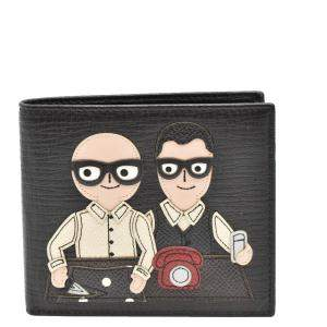 Dolce and Gabbana Black Family Man Patch Bifold Wallet