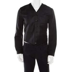 Dolce & Gabbana Charcoal Grey Wool Waistcoat Style Blazer S