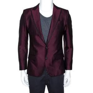 Dolce & Gabbana Burgundy Textured Jacquard Tuxedo Jacket S