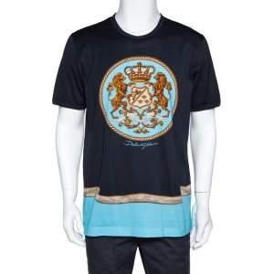 Dolce & Gabbana Navy Blue Principi Di Sicilia Print Cotton T-Shirt 3XL