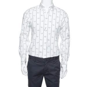 Dolce & Gabbana White Cotton Bee Print Long Sleeve Button Front Shirt M