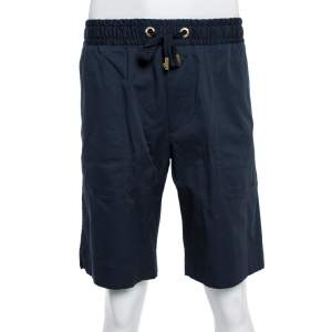 Dolce & Gabbana Midnight Blue Cotton Twill Shorts XXL