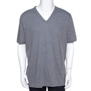 Dolce & Gabbana Grey Mélange Cotton V Neck T-Shirt 5XL