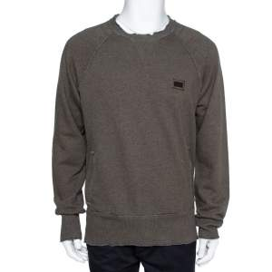 Dolce & Gabbana Grey Cotton Knit Sweatshirt L