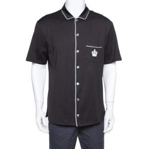 Dolce & Gabbana Black Cotton Jersey Crown Embroidered Shirt L