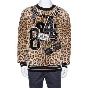 Dolce & Gabbana Brown Leopard Print Jacquard Musical Patch Sweatshirt L