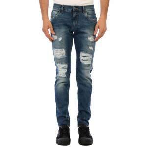 Dolce & Gabbana Blue Denim Ripped kinny Jeans Size EU 52