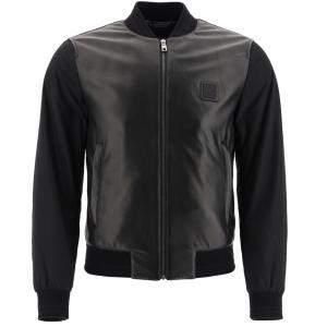 Dolce & Gabbana Black Leather Panel Bomber Jacket Size EU 46