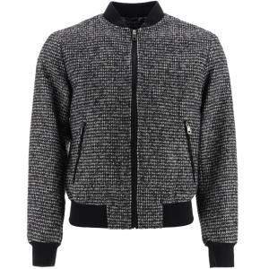 Dolce & Gabbana Wool Houndstooth Bomber Jacket Size EU 48