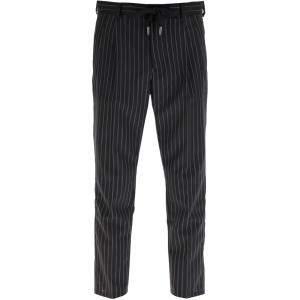 Dolce & Gabbana Black Pinstriped Wool Jogging Trousers Size IT 48