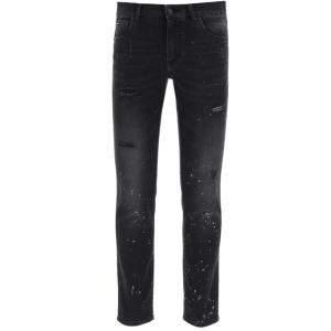 Dolce & Gabbana Black Denim Dg Plaque Jeans Size EU 52