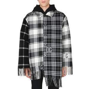 Dolce & Gabbana Black/White/Grey Panelled fringed Checked Coat Size L