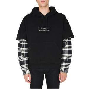 Dolce & Gabbana Black Checked layered-effect Hoodie Size S