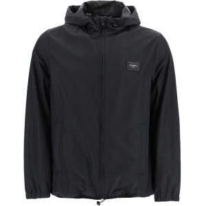 Dolce & Gabbana Black Nylon Hooded Jacket Size EU 48